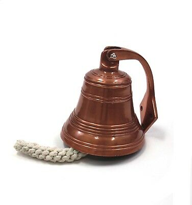 """Solid Aluminum Ship's Bell 6"""" Copper Finish Nautical Hanging Wall Decor New"""