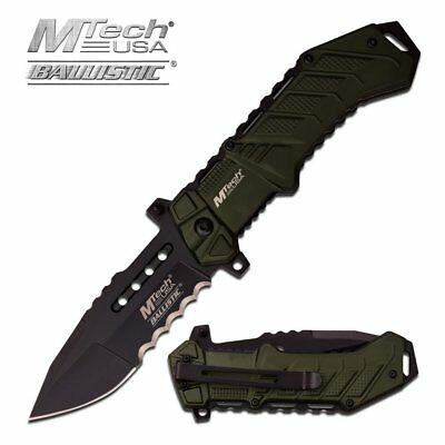 Mtech USA Tactical Knives Spring Assisted Folding Pocket Knife Green Sharp