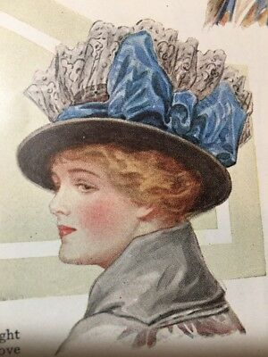 1914 Edwardian HAT Fashion Style Color Plate + 1 Large Print x2 Pages