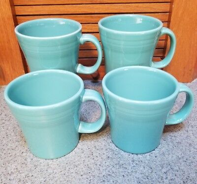 Fiesta 4 New Tapered Mugs Turquoise Large Coffee Cups 15 Oz Fiestaware