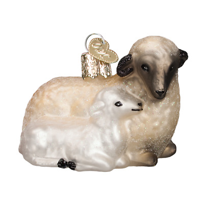 """""""Sheep with Lamb"""" (12414)X Old World Christmas Glass Ornament w/OWC Box"""