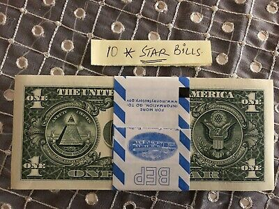 TEN (10) ✯ STAR NOTE $1 Dollar Bill UNCIRCULATED SEQUENTIAL CRISP from BEP PACK
