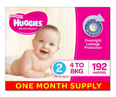 Huggies Ultra Dry Nappies, Girls, Size 2 (4-8kg) 192 Count,One Month Supply Baby