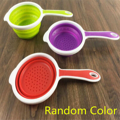 Silicone Collapsible Colander Food Fruit Vegetable Draining Strainer Handle New