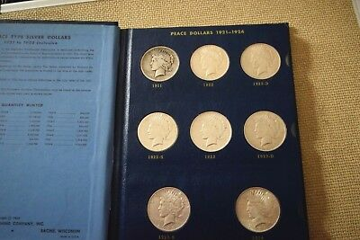 "Peace Dollar Set Complete 24 Coins 1921-35 "" Whitman Album """