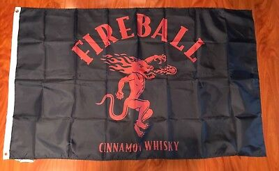 Fireball 3'x5' Flag Banner Cinnamon Whiskey Man Cave Sign Wall Decor Bar