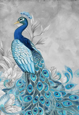Art Wall Living room Decor Modern Feng Shui Peacock Print Oil painting Canvas 05