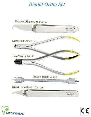 Set of 5 Orthodontic Gauge Hard wire Distal End Cutter Plier Bracket Tweezer kit