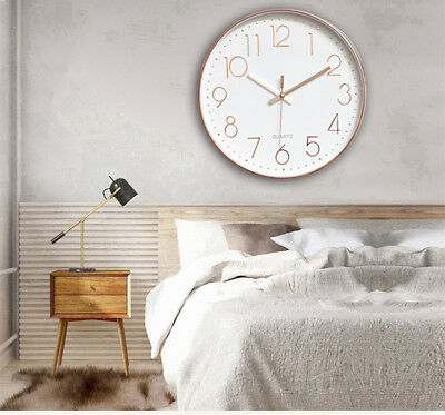 30cm 12inch Modern Large Sweep Wall Clock Battery Operated Bedroom Kitchen Round