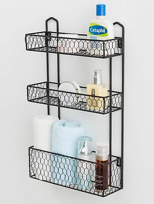 3 Tier Rustic Chicken Wire Wall Hanging Bathroom Organizer Shelf, Kitchen