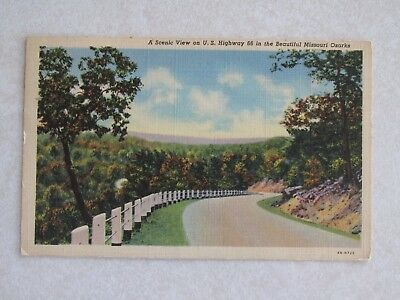 c552 Vintage postcard Scenic View Route 66 Missouri Ozarks Highway 66