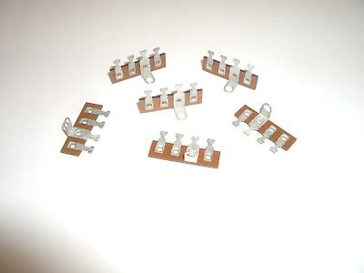 Vintage Phenolic Small Terminal Strip 4 Tag Post 1 Common Ground 6Pc Set
