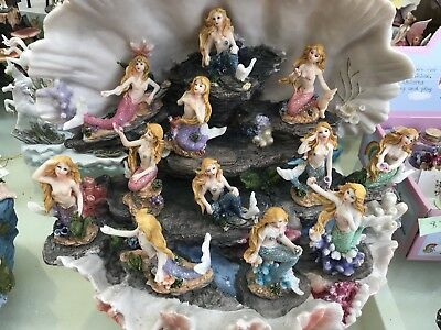 12 Mermaids In Large Shell Clam Display Stand bedroom decor Craft.