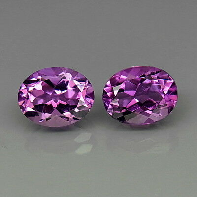 Oval 9x7 mm.PAIR! Real 100%Natural Amethyst Bolivia None Treatment 4.20Ct.