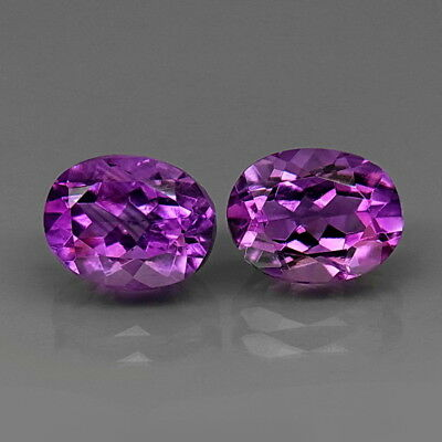 Oval 9x7 mm.PAIR! Real 100%Natural Amethyst Bolivia None Treatment 4.44Ct.