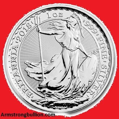 2018 1oz Silver Britannia Bullion Coin. New/Uncirculated.