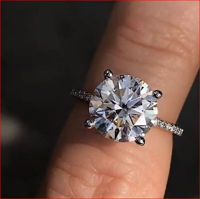 14K White Real Gold 2 Ct Round Cut Moissanite Diamond Solitaire Engagement Ring
