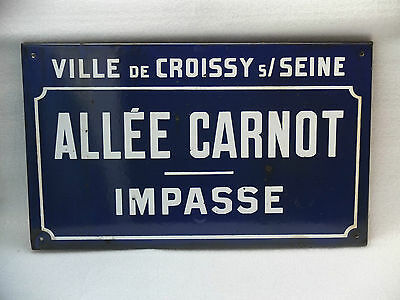 Genuine Original French Street Sign. Paris Suburb. Architectural Salvage.