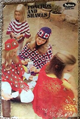 Vintage Patons Knitting Pattern Book 967 Ponchos and Shawls