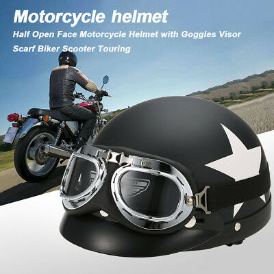 Half Open Face Motorcycle Helmet with Goggles Visor Scarf Biker Scooter Y7F4
