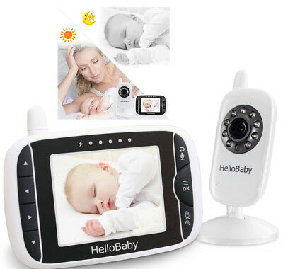 HelloBaby 3.2 Inch Video Baby Monitor With Night Vision Camera Temperature Senso