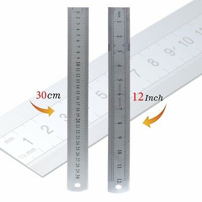 12 Inch/30cm Double Side Multi Accuracy Ruler-Metal Scale