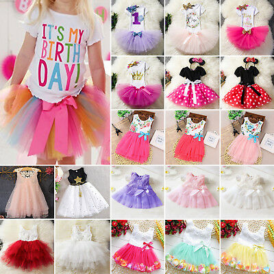 Kids Girls Princess Tulle Tutu Dress Party Wedding Bridesmaid Birthday Pageant