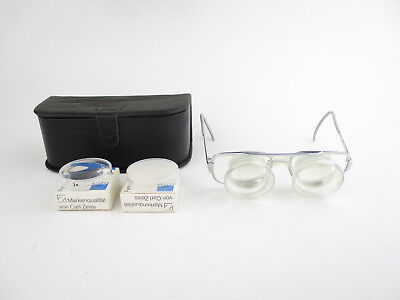 Carl Zeiss Germany Fernrohrbrille magnifying spectacles + Aufstecklinsen in case