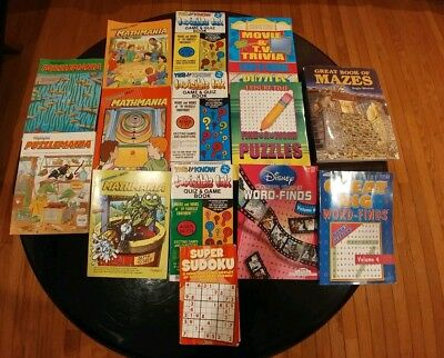 Lot of 14 Puzzlemania, Mathmania, Invisible Ink, Word-Finds, Great Book of Mazes