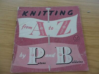 RARE VINTAGE 1930'S / 40's PATON & BALDWINS A TO Z OF KNITTING PATTERN BOOKLET