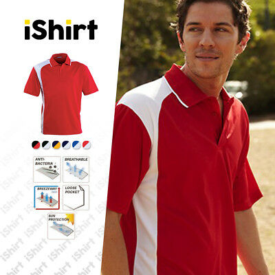 Mens Polo Shirt 100% Polyester Cool Dry Breathable Asymmetrical Active Polo