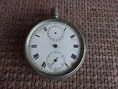 Nickle Plated 2 Dial Chronograph Pocket Watch