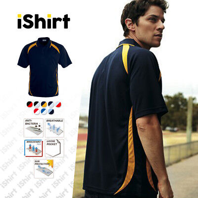 Mens Polo Shirt 100% Polyester Cool Dry Breathable Contrast Contour Polo
