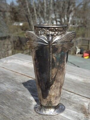 VINTAGE Christofle France Silver Plated DRAGONFLY  Bud Vase 6  INCH DRAGON FLY