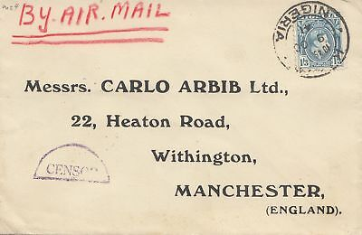 Nigeria: 1941: Air Mail to Manchester - Censor