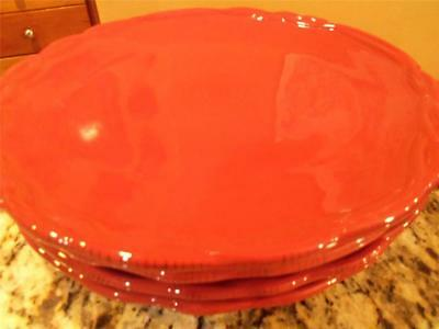 4 Tracy Porter Octavia Hill Collection dinner plates solid red excellent condtn!