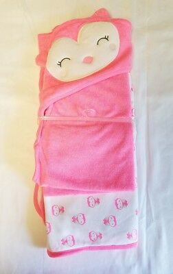 Just One You Owl Towel Set Pink Hooded 2 Pack Towels Baby Girls Carters NWOT