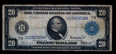 1914 $20 Federal Reserve Paper Money Note (Blue Seal) Very Good #53536A