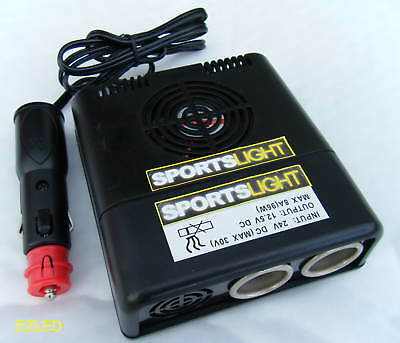 Truck Voltage Dropper Converter 24V to 12V Dual Socket 8AMP Max
