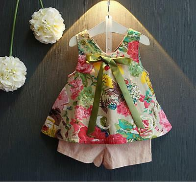 2pcs baby toddler kids girls summer holiday outfits T-shirt +short pants floral