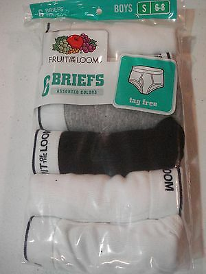 Fruit of the Loom Boys 6 Pack Briefs Size 6-8 Small NEW Assorted Colors Solids