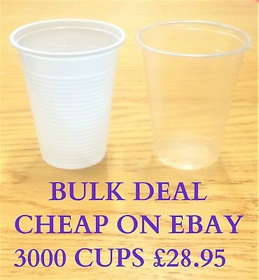7oz White/Clear Plastic Disposable Cups 200ml Vending Style Cup 180cc Glasses