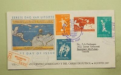 DR WHO 1957 FDC NETHERLAND ANTILLES CENTRAL AMERICAN SOCCER CHAMPIONSHIP  d16770
