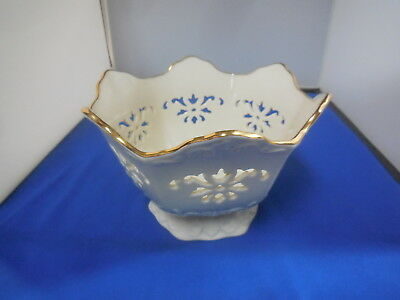 Vintage Lenox Floral Cut Out Bowl Or Center Piece With Gold Trim Made In U.s.a.