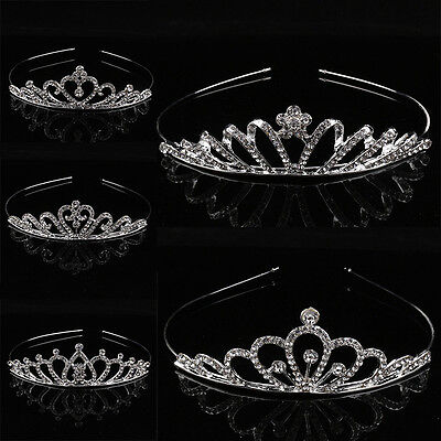 Girl Bridal Princess Prom Crown Headband Rhinestone Crystal Tiara Hair Hoop Kids