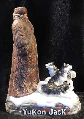 """Yukon Jack & Huskies"" 1985 Porcelain 100 Proof Canadian Whiskey Decanter Bottle"