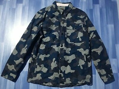 Large Adults Barbour Navy Camo Overshirt 22 Inches Pit To Pit (Medium)