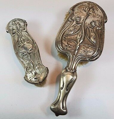 Hm Silver Art Nouveau Vanity Set - Hair & Clothes Brush 1905 Scrap Or Repair