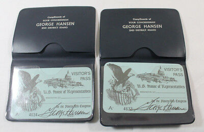 2 Vintage House Of Representatives Visitor's Pass  George Hansen Idaho signed