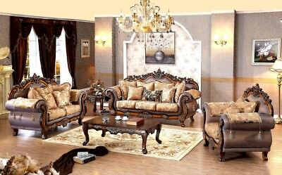 MERIDIAN 693 SEVILLE Hand Carved Traditional Living Room Set 1 ...